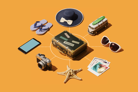 Travel and tourism isometric infographic with accessories, smartphone and suitcase