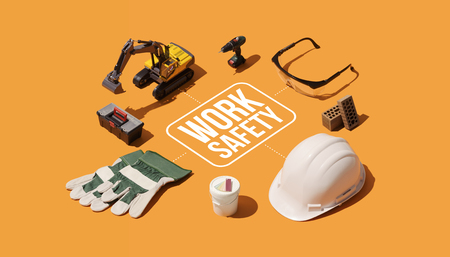 Work safety and protective equipment for construciotn workers, isometric infographic