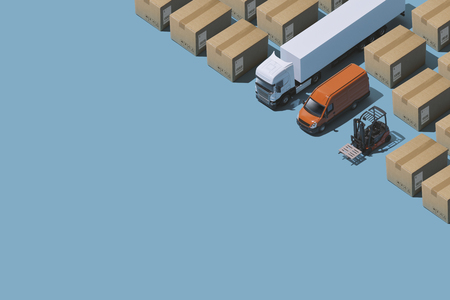 Professional express delivery, warehousing and shipment service: isometric trucks and parcels with copy space