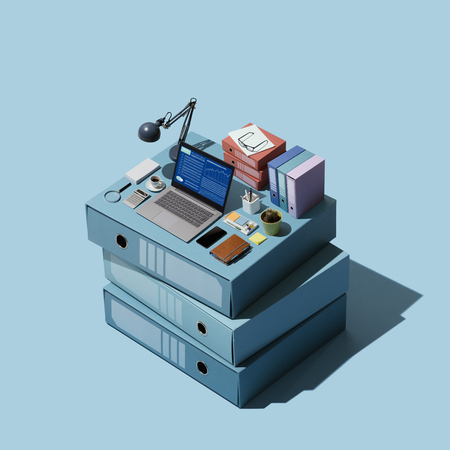 Miniature isometric office on a pile of folders: organization and efficient workspace concept 版權商用圖片