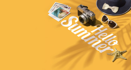 Hello summer, tourism and vacations banner: isometric text with sunglasses, camera, hat and starfish, blank copy space