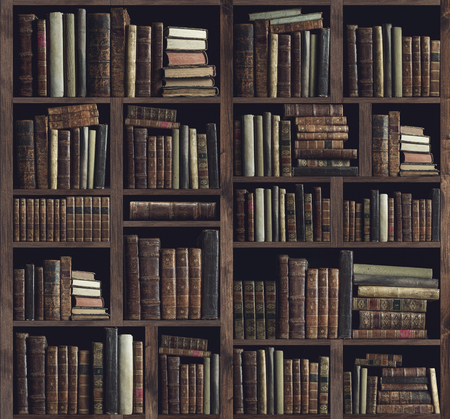 Colección de valiosos libros antiguos en una estantería de madera: concepto de conocimiento, cultura y educación Foto de archivo