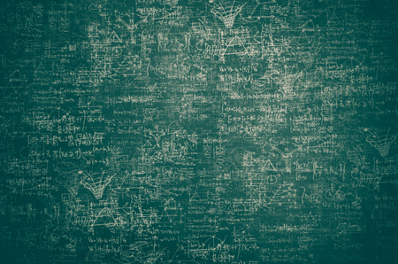 Intricate science and physics sketches on a blackboard: creativity, ideas and science background