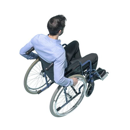 Disabled man on wheelchair, accessibility and disability concept, white background Standard-Bild - 124477559