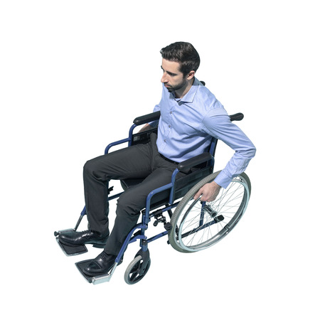 Disabled man on wheelchair, accessibility and disability concept, white background Standard-Bild - 124477842