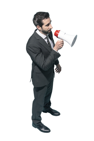 Sales manager shouting with a megaphone, marketing and communication concept Standard-Bild - 124477961