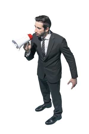 Sales manager shouting with a megaphone, marketing and communication concept