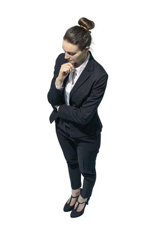 Corporate businesswoman thinking with hand on chin, white background Standard-Bild - 124478264