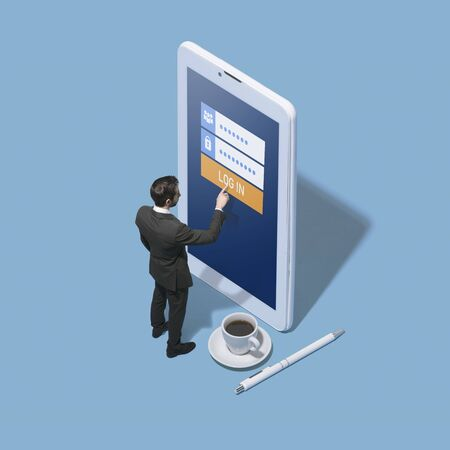 Businessman logging in into a mobile app profile, security and technology concept