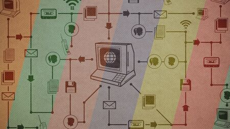 Vintage computer and network of retro multimedia and internet icons: communications and retro technology concept 版權商用圖片