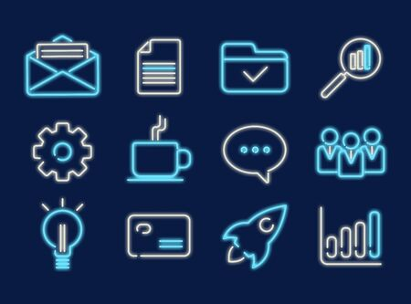 Set of business and technology neon icons on blue background