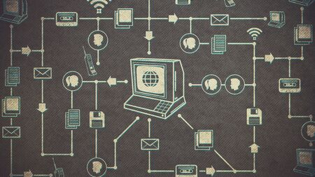 Vintage computer and network of retro multimedia and internet icons: communications and retro technology concept 写真素材