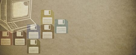 Vintage computer and floppy disks textured background with copy space 版權商用圖片