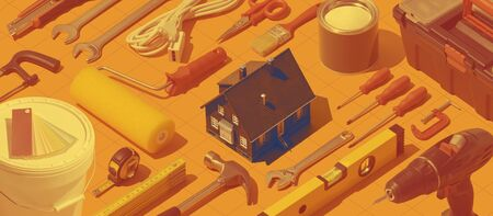 DIY, home repair and construction background with isometric hardware tools, model house at center Stock Photo