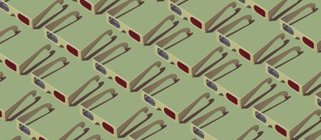Cinema and movies entertainment background: repetition of isometric identical 3D glasses