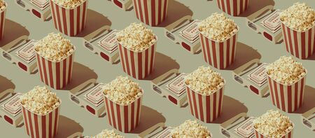 Cinema and movies entertainment background: repetition of popcorn boxes and 3D glasses