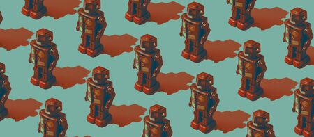 Vintage tin toy robot background, repetition of identical isometric toys on blue background