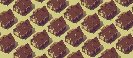 Real estate background with repetition of identical model houses on green background