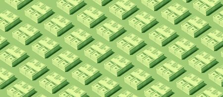 Repetition of cash dollars packs on green background, earning and wealth concept Stock Photo