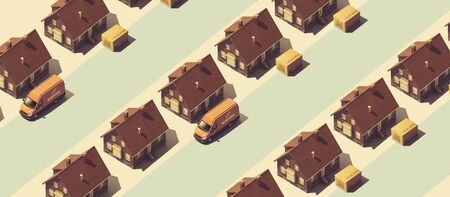 Home delivery service banner with model houses, trucks and parcels