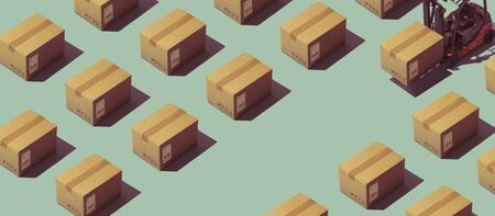 Warehouse and logistics banner with forklift truck and identical isometric boxes