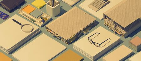 Full business desktop with paperwork and stationery, business management concept