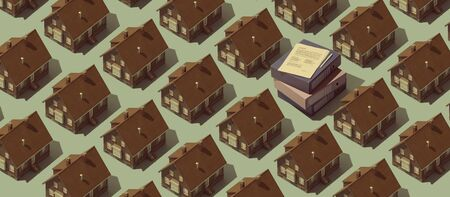 Real estate background with repetition of model houses and pile of paperwork