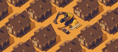 Real estate background with repetition of model houses, excavator and construction industry items