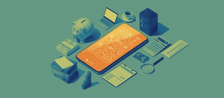 Smartphone apps and matching isometric objects: business management, banking and finance Stock Photo