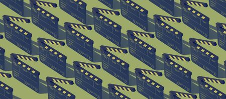 Cinema and filmmaking background: repetition of isometric clapperboards on green background Banco de Imagens