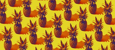 Colorful pineapple summer background: identical pineapple repeated on yellow background