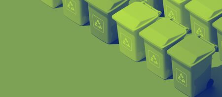 Green isometric garbage bins banner, waste collection and ecology concept