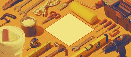DIY, home repair and construction background with isometric hardware tools, blank copy space