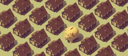 Real estate background with repetition of model houses and piggy bank, home purchase concept