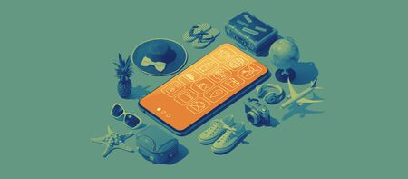 Smartphone apps and matching real objects: travel and tourism isometric items