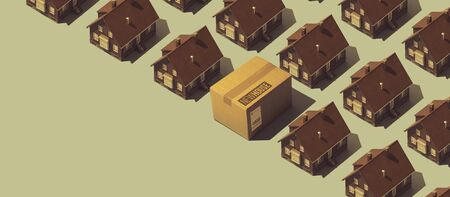Real estate and new house banner: repeated model houses and cardboard box, blank copy space Stock Photo