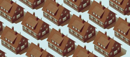 Real estate background with repetition of identical model houses on blue background