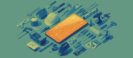 DIY and home repair app with smartphone and isometric hardware tools Stock Photo