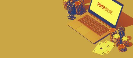 Online poker games banner with laptop, ace cards and piles of chips, blank copy space Stock Photo