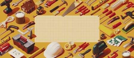 DIY, home repair and construction tools frame with blank copy space, isometric objects