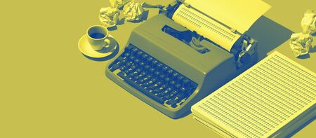 Vintage typewriter, coffee and crumpled paper on the blogger desk, creativity concept