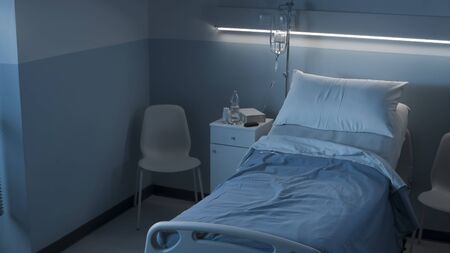 Clean hospital room interior at night with bed and medical equipment, medicine and healthcare concept