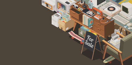 Flea market stall and vintage shopping: collection of assorted retro second hand objects and electronics, isometric 3D illustration Stockfoto