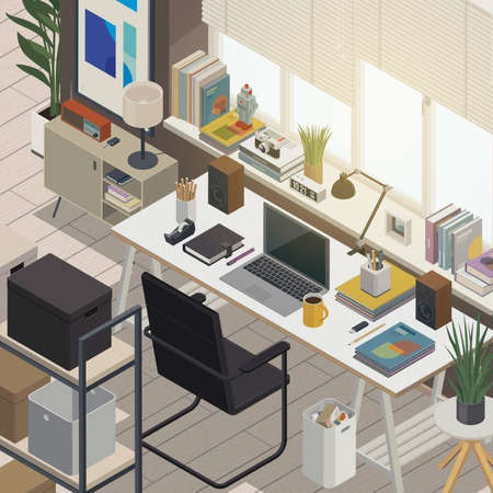 Contemporary home office interior with computer, desk and modern design decorations, isometric 3D illustration
