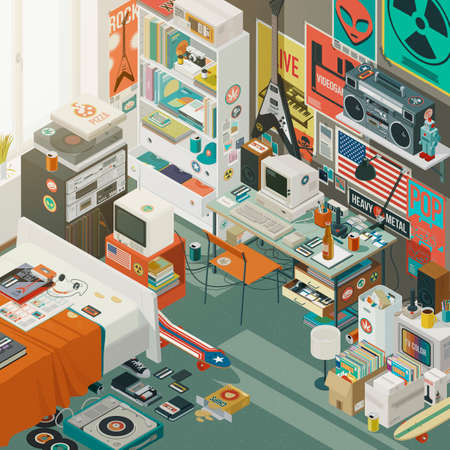 1980s style teenager bedroom interior with bed, desktop, iconic objects and decorations, isometric 3D illustration Stockfoto