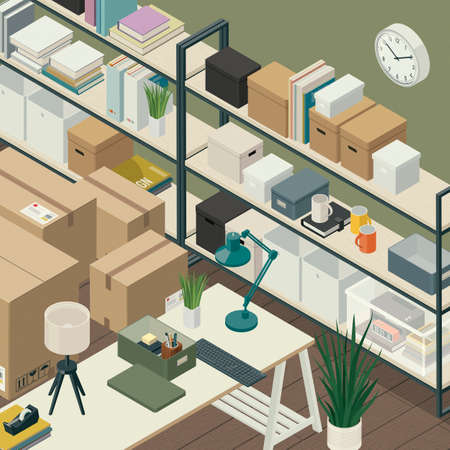 Office relocation and organization: office interior with desk, shelves and cardboard boxes, isometric 3D illustration