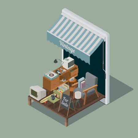 Online vintage shop app on a smartphone and collection of vintage items, isometric 3D illustration Stockfoto