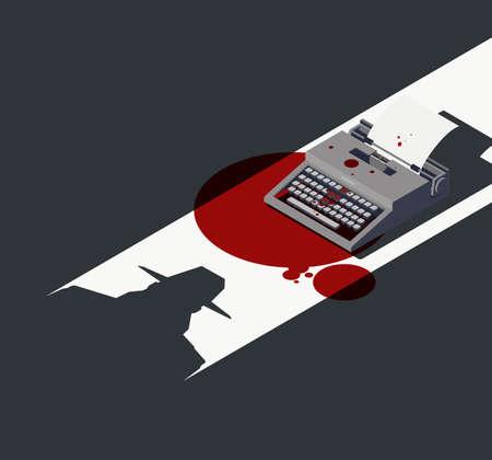 Detective and vintage typewriter with blood stains, noir movie concept, 3D illustration Zdjęcie Seryjne