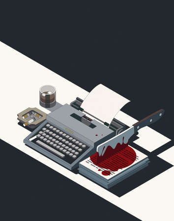 Horror movie concept: cleaver stained with blood and vintage typewriter, 3D illustration