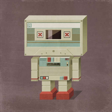 Cute vintage sci-fi robot, his head is an audio cassette, his body is a tape player and recorder with buttons 3D illustration